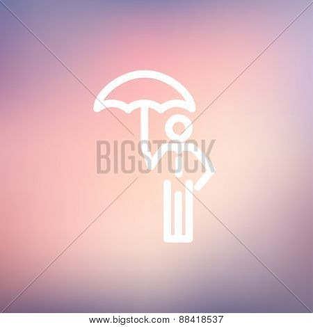 Man with umbrella icon thin line for web and mobile, modern minimalistic flat design. Vector white icon on gradient mesh background.