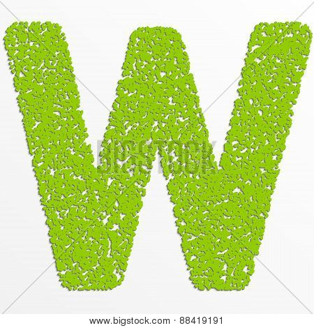 Vector multi color alphabet with grain texture, letter W