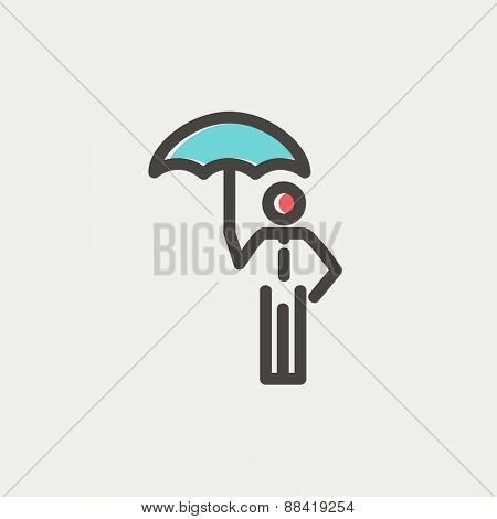 Man with umbrella icon thin line for web and mobile, modern minimalistic flat design. Vector icon with dark grey outline and offset colour on light grey background.