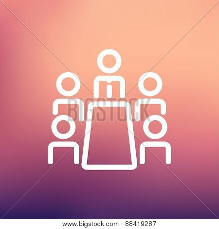 Business meeting in office icon thin line for web and mobile, modern minimalistic flat design. Vector white icon on gradient mesh background.