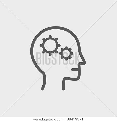 Human head with gear symbol icon thin line for web and mobile, modern minimalistic flat design. Vector dark grey icon on light grey background.