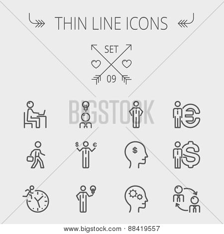 Business thin line icon set for web and mobile. Set includes-head, Euro, US dollar, clock, head, laptop, bulb icons. Modern minimalistic flat design. Vector dark grey icon on light grey background.