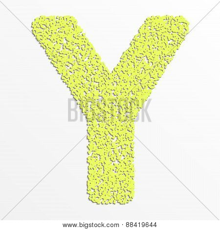 Vector multi color alphabet with grain texture, letter Y