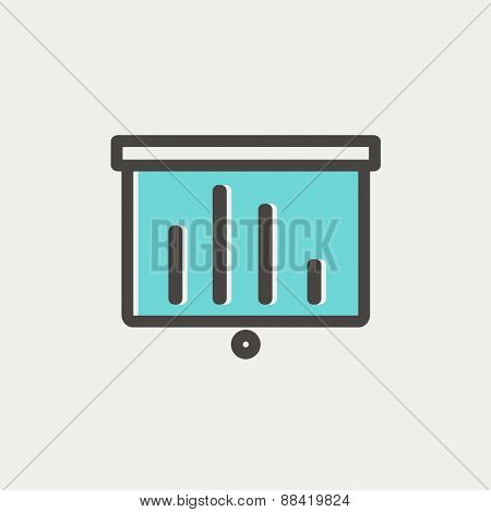 Projector roller screen icon thin line for web and mobile, modern minimalistic flat design. Vector icon with dark grey outline and offset colour on light grey background.