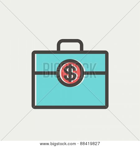 Money suitcase icon thin line for web and mobile, modern minimalistic flat design. Vector icon with dark grey outline and offset colour on light grey background.