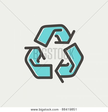 Recycle symbol icon thin line for web and mobile, modern minimalistic flat design. Vector icon with dark grey outline and offset colour on light grey background.