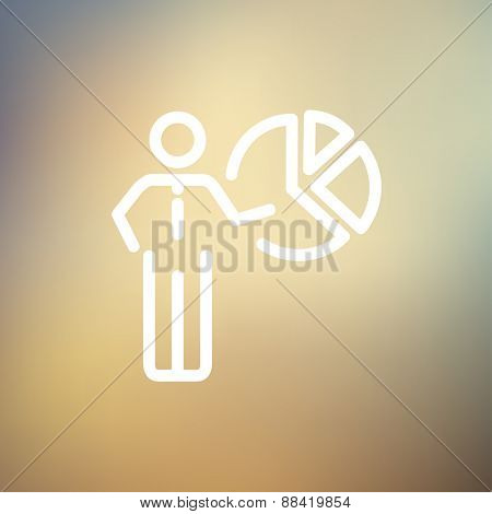 Businessman pointing at pie chart icon thin line for web and mobile, modern minimalistic flat design. Vector white icon on gradient mesh background.
