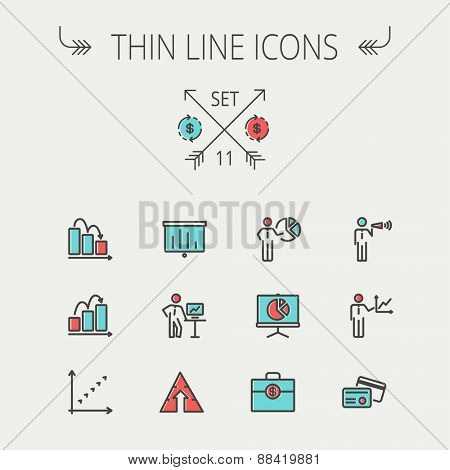 Business thin line icon set for web and mobile. Set includes- recycle, money bag, graph, roller screen, business presentation, pie chart icons. Modern minimalistic flat design. Vector icon with dark