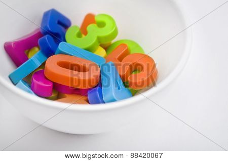 Colorful numbers in a bowl. 'Food for young brains' an idea.