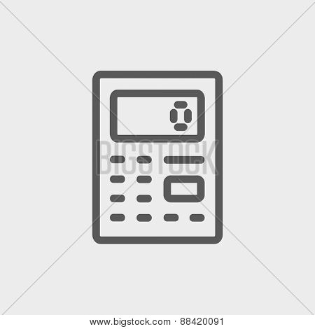 Calculator icon thin line for web and mobile, modern minimalistic flat design. Vector dark grey icon on light grey background.