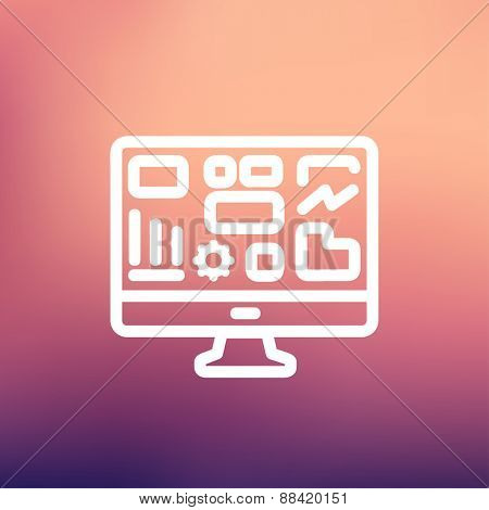 Monitor with business graph icon thin line for web and mobile, modern minimalistic flat design. Vector white icon on gradient mesh background.