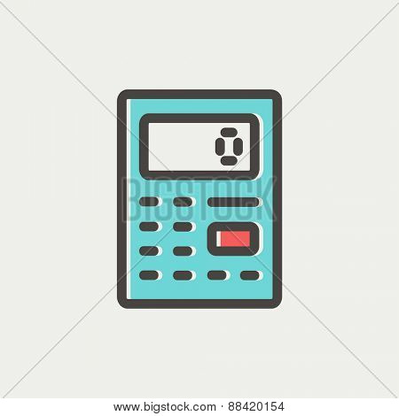 Calculator icon thin line for web and mobile, modern minimalistic flat design. Vector icon with dark grey outline and offset colour on light grey background.