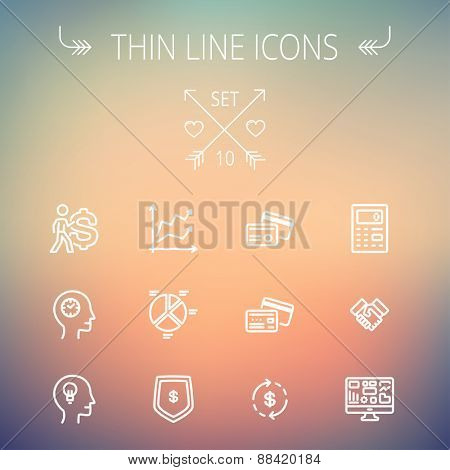 Business thin line icon set for web and mobile. Set includes- graph, chart, pie graph, dollar symbol, cards, handshake, calculator, monitor icons. Modern minimalistic flat design.Vector white icon on