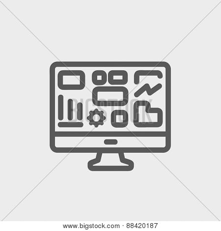 Monitor with business graph icon thin line for web and mobile, modern minimalistic flat design. Vector dark grey icon on light grey background.