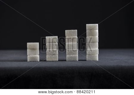 Growth chart made with sugar cubes. A concept for rising diabetic patients globally.