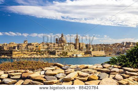 View Of Valletta From A Garden - Malta