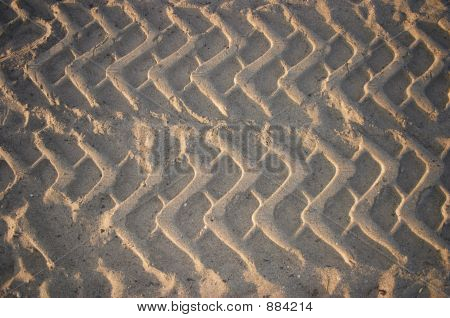 tire tracks in the beach