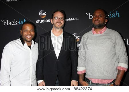 LOS ANGELES - FEB 17:  Anthony Anderson, Jonathan Goff, Kenya Barris at the