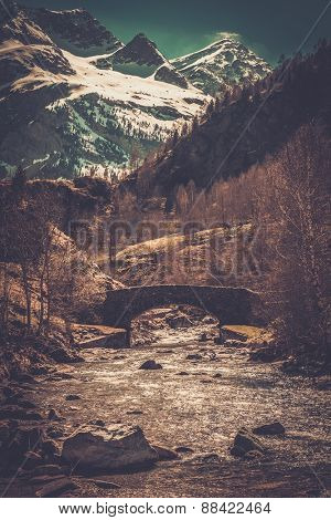 Bridge over fast river in mountain forest