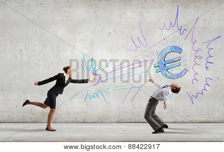 Young businessman benting to evade from thrown euro sign