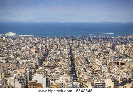 ATHENS, GREECE - APR 7, 2015: Views of the Aegean sea and streets labyrinth of Athens. Athens is one of the world's oldest cities, with its recorded history spanning around 3,400 years.