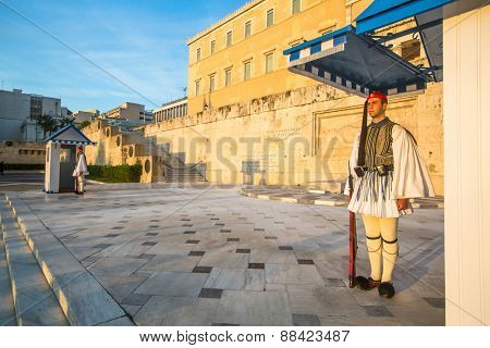 ATHENS, GREECE - APR 12, 2015: Greek soldiers Evzones (or Evzoni) dressed in full dress uniform, refers to the members of the Presidential Guard, an elite ceremonial unit, active from 1833 - present.