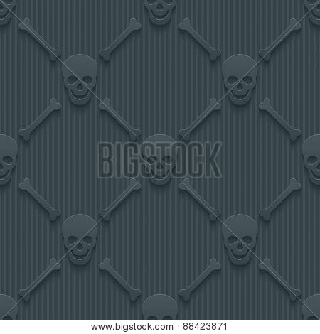 Dark perforated paper with cut out effect. 3d skulls and bones seamless background. Vector EPS10.