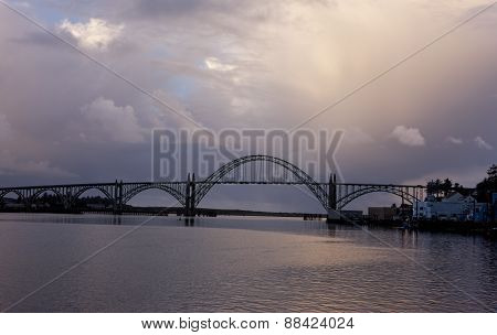 Yaquina bridge at sunset.