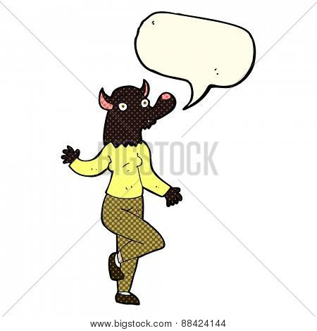 cartoon dancing werewolf woman with speech bubble