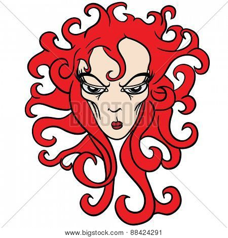 evil red haired woman