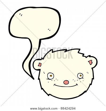 cartoon polar bear head with speech bubble