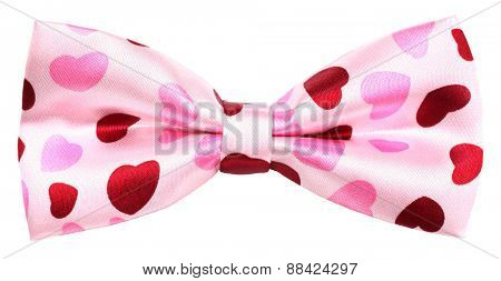 Hair bow tie pink with red hearts of  love