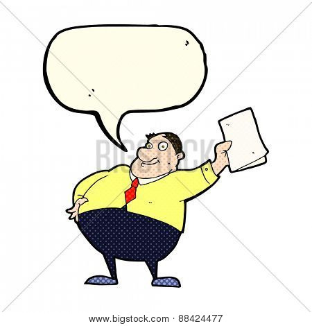 cartoon boss waving papers with speech bubble