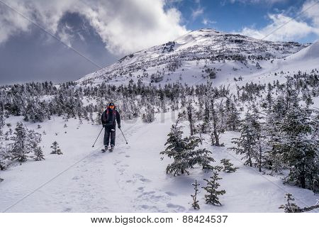 Back Country Skier On Mountain Summit