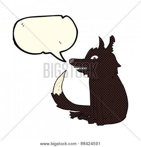 cartoon wolf sitting with speech bubble