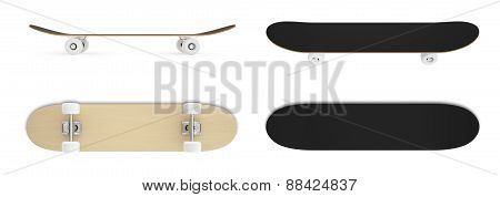set skateboard isolated on white background.