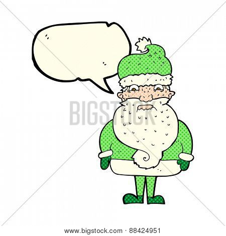 cartoon grumpy santa claus with speech bubble