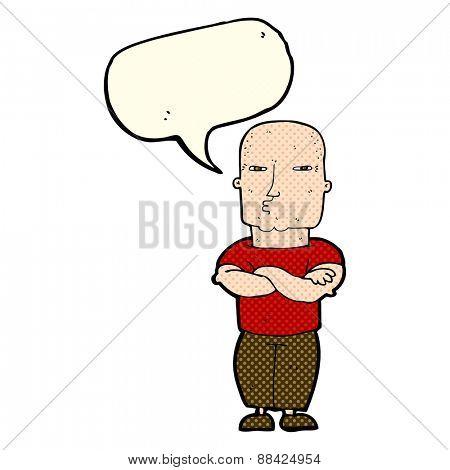 cartoon tough guy with speech bubble