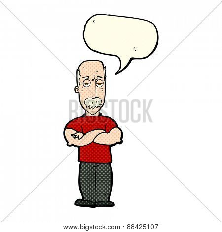 cartoon angry man with mustache with speech bubble