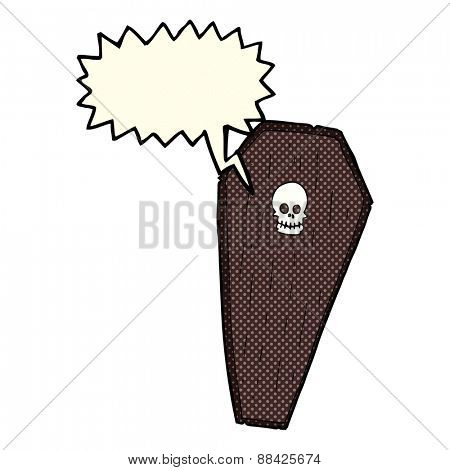 spooky cartoon coffin with speech bubble
