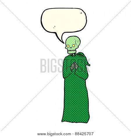 cartoon skeleton in black robe with speech bubble