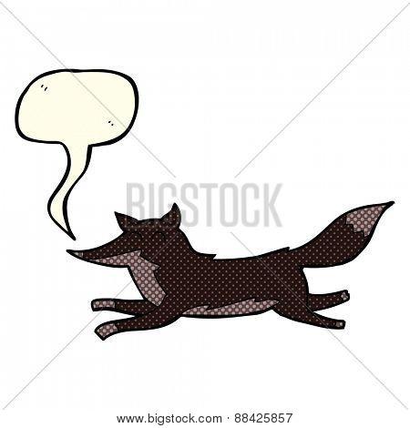 cartoon running wolf with speech bubble