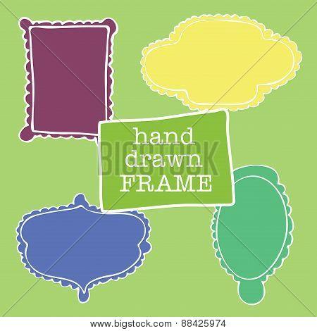 Set Of Hand-drawn Frames Felt-tip Pen