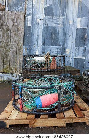 Industrial fishing gear on a pallet.