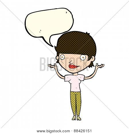 cartoon woman holding arms in air with speech bubble