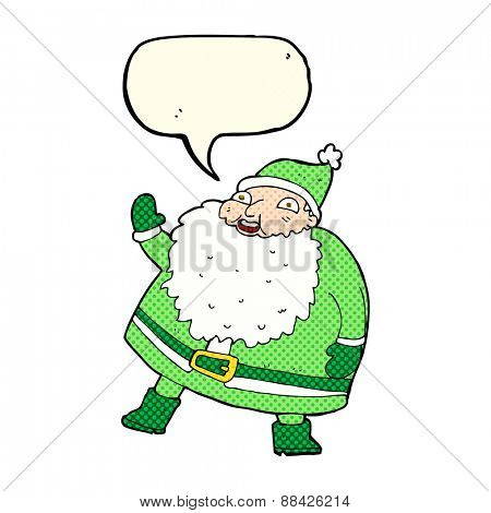 funny waving santa claus cartoon with speech bubble
