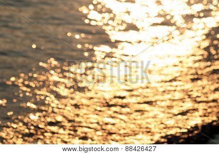 golden lights on water
