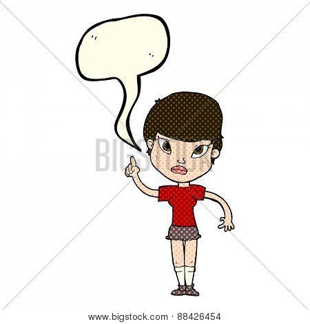 cartoon woman with idea with speech bubble