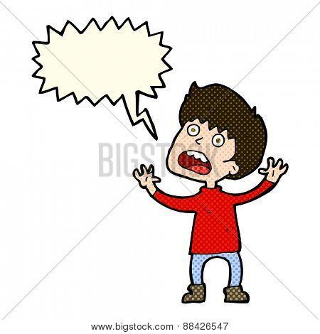 cartoon stressed boy with speech bubble