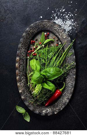 Herbs and Spices on vintage plate